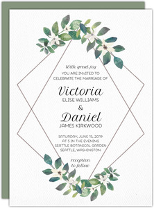 Diamond Frame Greenery Wedding Invitation