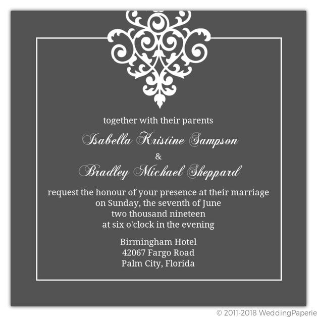 Gray and Elegant White Flourish Wedding Invitation Wedding Invitations