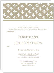 Simple Taupe and Delicate White Flowers Wedding Invitation