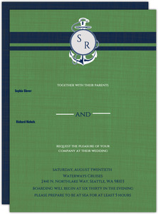 Green and Blue Nautical Themed Wedding Invitation