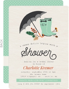Rustic Rain Boots Bridal Shower Invitation
