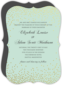 Mint and Gold Foil Confetti Wedding Invitation