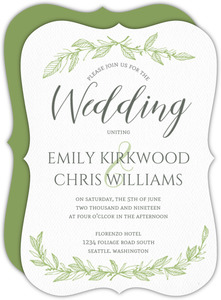 Delicate Foliage Decor Wedding Invitation