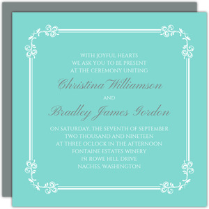 Classic Tiffany Blue Wedding Invitation