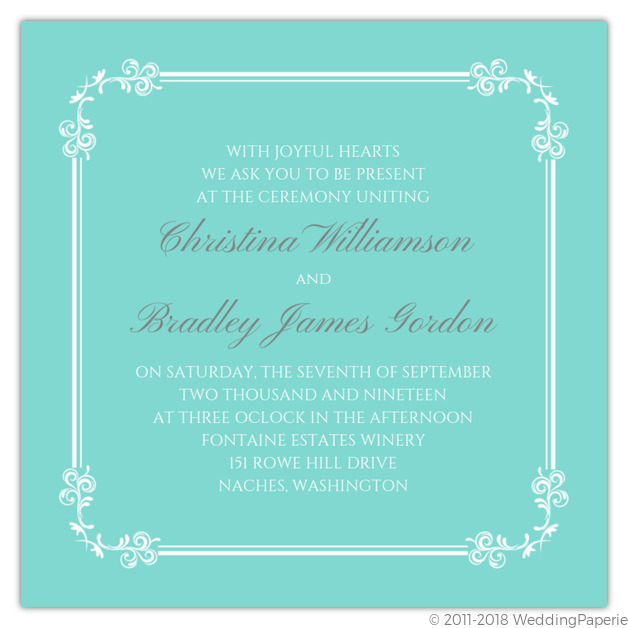 Classic Tiffany Blue Wedding Invitation Wedding Invitations
