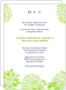 Modern Blue And Green Floral Wedding Invite