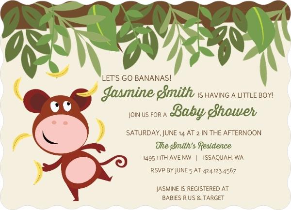 Monkey Go Bananas Baby Shower Invitation