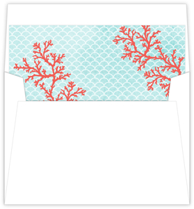 Watercolor Coral Envelope Liner