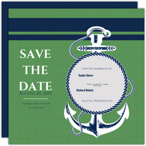 Green And Blue Nautical Themed Save The Date Announcement