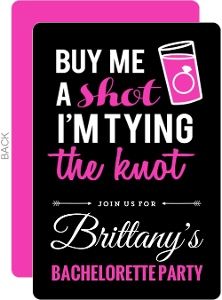 Fun Shot Pink And Black Bachelorette Party Invitation