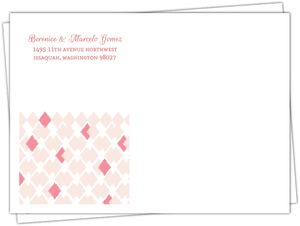 Blush Ikat Pattern Wedding Invitation Envelope