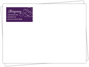 Elegant Purple Flourish Pattern Wedding Envelope
