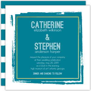 Rustic Dry Brushstroke Wedding Invitation