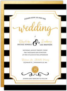 Chic Black White Modern Wedding Invitation