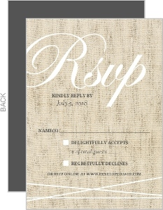 Beautiful Burlap & Vintage Lace Wedding Response Card