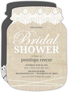 Beautiful Burlap & Vintage Lace Bridal Shower Invitation