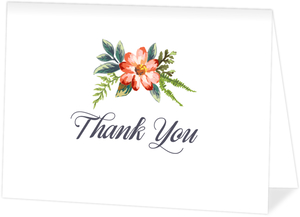 Delicate Watercolor Flowers Wedding Thank You Card