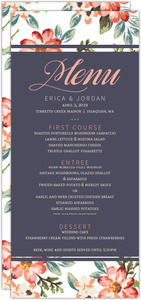 Delicate Watercolor Flowers Wedding Menu Card