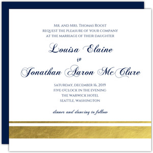 Classic Navy Stripe Wedding Invitation