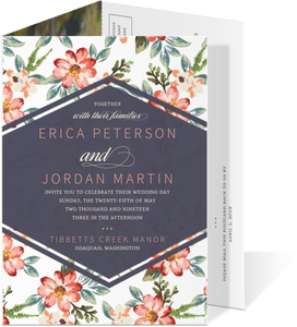 Delicate Watercolor Flowers Trifold Wedding Invitation