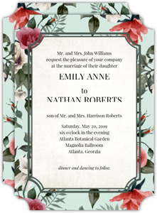 Vintage Mint Botanical Wedding Invitation
