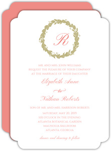 Classic Pink & Faux Gold Wreath Wedding Invitation