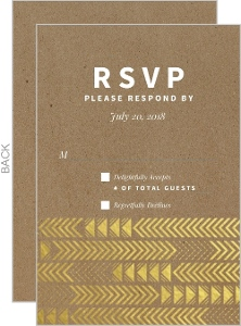 Gold Foil Arrow Pattern Wedding Response Card