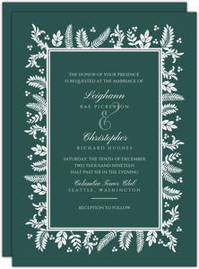 Beautiful White Winter Foliage Frame Wedding Invitation