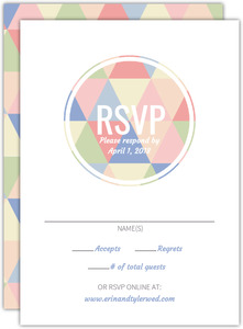 Geometric Modern Pastel Pattern Wedding Response Card