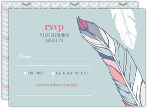 Chic Boho Feather Wedding Response Card