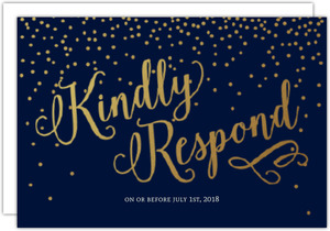 Faux Foil Midnight Stars Wedding Response Card