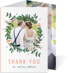 Spring Greenery Wreath Wedding Thank You Card