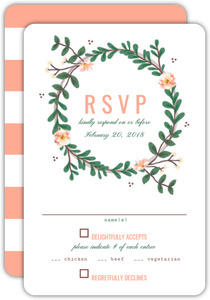 Spring Greenery Wreath Wedding Resonse Card
