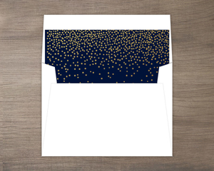 Faux Foil Midnight Stars Custom Envelope Liner