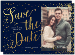 Faux Foil Midnight Stars Save The Date Card