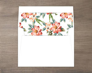 Delicate Watercolor Flowers Custom Envelope Liner