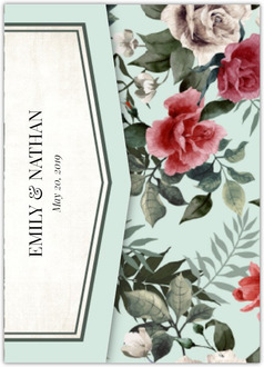 Vintage Mint Botanical Pocketfold Wedding Invitation