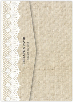 Beautiful Burlap & Vintage Lace Pocketfold Wedding Invitation