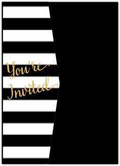 Chic Black & White Modern Pocketfold Wedding Invitation
