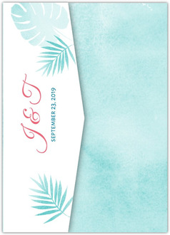 Tropical Watercolor Palms Pocketfold Wedding Invitation