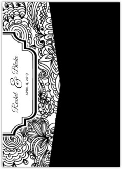 Black and White Lace Pocketfold Wedding Invitation