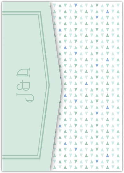 Deep Sea Beach Glass Pattern Pocketfold Wedding Invitation
