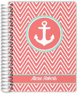 Coral and Mint Chevron Anchor Wedding Planner