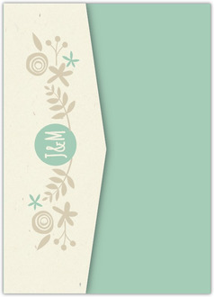 Nature Mint Kraft Pocketfold Wedding Invitation