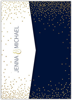 Faux Foil Midnight Stars Pocketfold Wedding Invitation