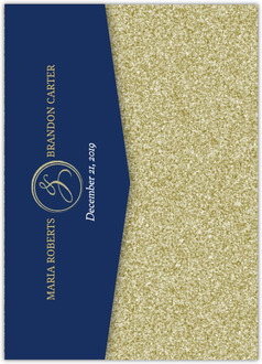 Gold Shimmer Pocketfold Wedding Invitation