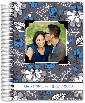 Gray and Blue Floral Pattern Wedding Planner