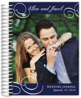 Navy Photo Flourish Wedding Journal