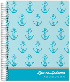 Bright Aqua Anchor Wedding Journal