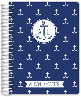 Navy Anchor and Stripes Wedding Journal